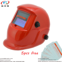 Free Shipping Solar Powered Welder Auto Darkening External Protect Plate Red Polishing Welding Helmet Tig Mig TRQ-HP03-2200DE(China)