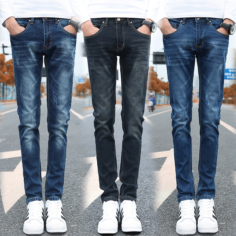 New Men's Leisure Fashion Straight Pants and Jeans Men's Blue Slim Skinny Fit Distressed Ripped Elastic Tapered Leg