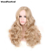 WoodFestival womens wavy synthetic wigs hair heat resistant platinum long blonde wig cosplay