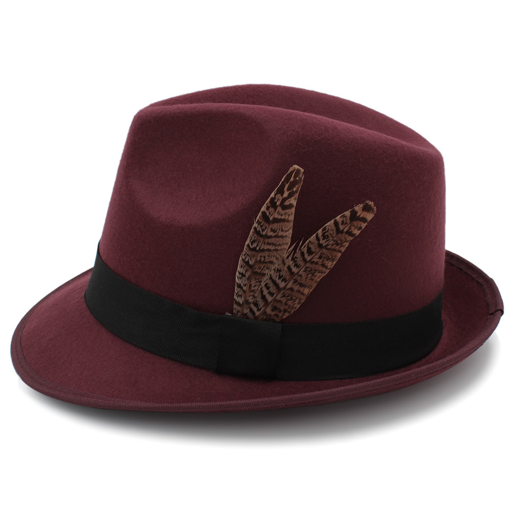 Compre Vintage Lana Mujeres Hombres Gangster Trilby Fieltro Sombrero ... 7591b097294
