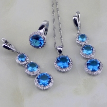 925 Silver Jewelry Blue CZ White Cubic Zirconia Jewelry Sets For Women Wedding Earring/Pendant/Necklace/Ring Free Gifts Box(China)