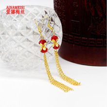AINAMEISI 2017 New Fashion Gold Long Section Fringed Chain Earrings Ladies Pendant Red Glass Beads Earrings Jewelry Gifts(China)