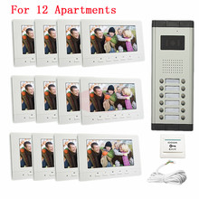 12 Units Video DoorPhone Camera Intercom IR Night Vision Doorbell for 12 Units Suitable 12-Stories Building
