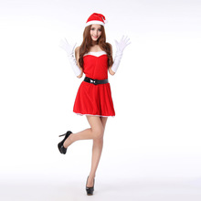 New Hooded Santa Claus Xmas Dress Adult Women Party Dress Sexy Strapless  Uniform Christmas  Halloween Costume