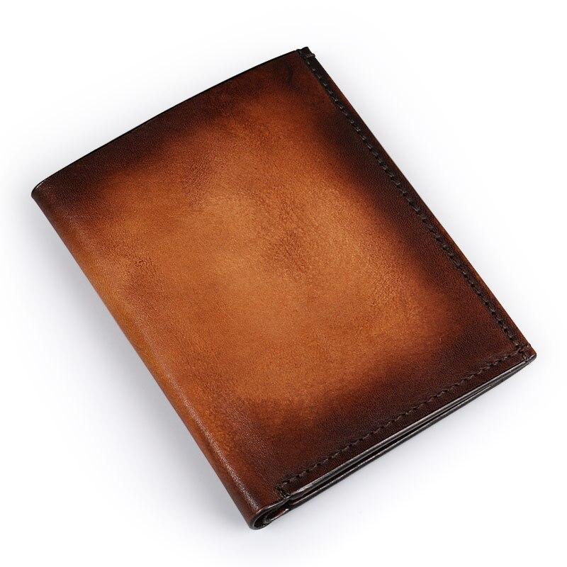 Ruil Ameikaji Top quality Retro Fashion Hand coloring Genuine Leather Men Mini Purse Handmade Gradient Wallet coin pocket purse <br>