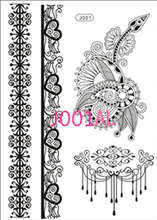 2017 Limited New Lace Black Henna Tattoo Sticker Totem Butterfly Sun 36 Designs Brand Temporary Body Art For Women Tatuagem