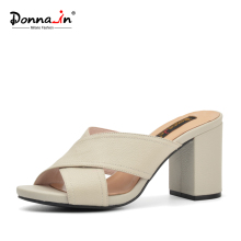 Donna-in 2018 Women Genuine Leather Slipper Platform High Heels Sandals Ladies Shoes Thick Heel Casual Slippers Fashion Styles(China)