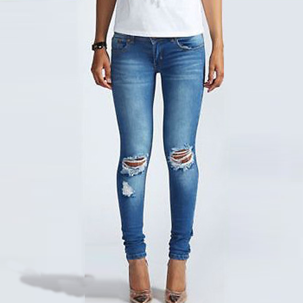 Hot Jeans Pants 2016 Womens Fall Fashion Female Denim Strech Blue Skinny Hole Ripped Pencil High Waist Plus SizeОдежда и ак�е��уары<br><br><br>Aliexpress