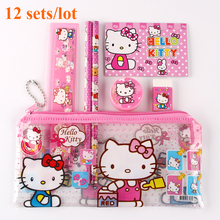12 sets/lot hello kitty pencil case children sticker cute cartoon school supplies stationery kawaii pencil cases for girls gift(China)