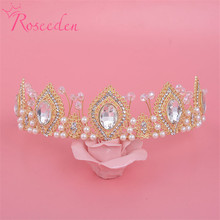New Vintage Bridal Tiara and Crown Women Clear Crystal Jewelry Hollow Gold Royal Crown Bridal Wedding Crown RE174