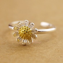Wholesale 30% Off When Buying 5 - Sterling Silver Golden Sunflower Adjustable Knuckle Mid Pinkie Toe Ring Size 3.25/6.75 A3146