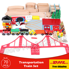 70pcs Transportation Train Set Diecasts Toy Vehicles Kids Toys train Model Cars wooden puzzle Building slot track Railway