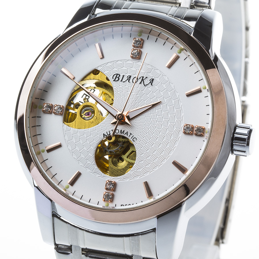 BIAOKA Brand Fashion Designer Rose gold men s waterproof watch hollow Men Skeleton automatic mechanical watches<br>