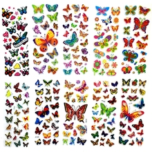 10 Sheets Colorful Butterflies Scrapbooking Bubble Puffy Stickers Kawaii Emoji Reward Kids Toys ST03