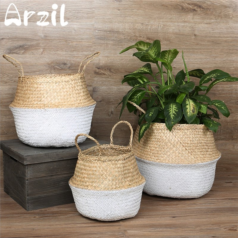 Seagrass Belly Storage Basket Handmade Straw Organizer Plant Pot Half White Garden Flower Pot Planter Nursery Pots Handle Bag(China (Mainland))