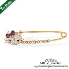 Cute Clip Scarf Gold Colour Rhinestone Hello Kitty Brooch Lapel Pins 5pcs/lot Free Shipping(China)