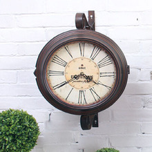 Do the Old Double Sided Wall Clock Quartz Watch Vintage Wrought Iron Wall Clock Large Clocks Saat Wanduhr Duvar Saatleri Reloj