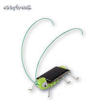 Abbyfrank Solar Cricket Green Grasshopper Insect Cricket Juguetes Solares Mini Solar Powered Toy Crazy Bug Gadgets For Children(China)