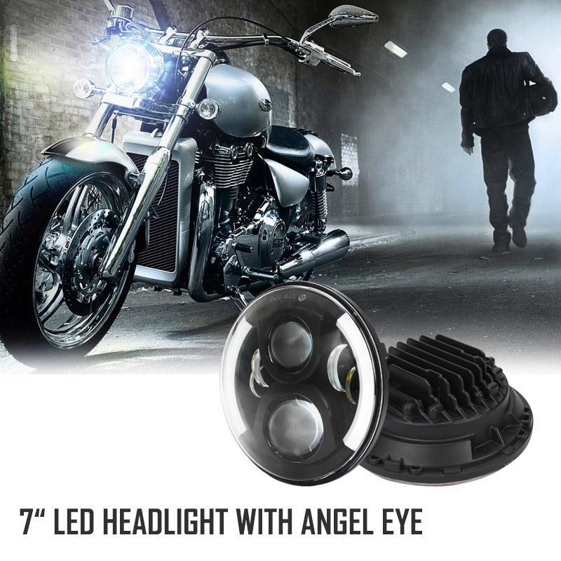 7 60W Black LED chips Motorcycle Headlight Halo Ring As DRL Angel Eye H4 H13 Hi-Lo beam For Harley FLD Trike<br><br>Aliexpress