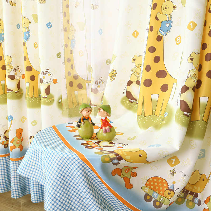 Curtains for Bedroom Children Boys Girls Kids Room Giraffe Cute Cartoon Animals Custom Half Shading Windows Curtain Tulle Cloth