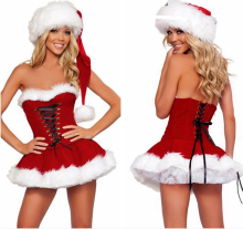 Hot Sales New Christmas Costume for Lady Strapless Dress with Villi Hat Santa Claus Costumes Cute Nifty Ladies For Shipping