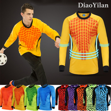 New Men Soccer Goalkeeper Jersey SPT Football Sponge Protector shirt Camisetas De Futbol Goal Keeper Uniforms Long Sleeve(China)