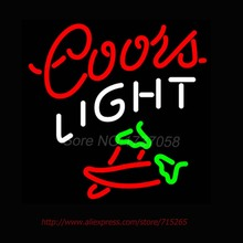 Super Bright Neon Bulbs Coors Light Two Chili Pepper Neon Sign Commercial Custom signs For Bar Neon Lamp Real Glass TubeS 16X16(China)