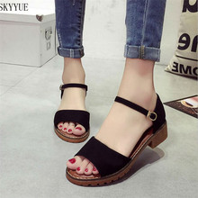 Plus Size Suede Buckle Strap Square Mid Heels Summer Style Womens Sandals Casual Cheap Shoes Woman(China)