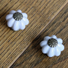 8PCS New design Grey Pumpkin ceramic knobs furniture handles wardrobe and cupboard knobs drawer dresser knobs cabinet pulls(China)