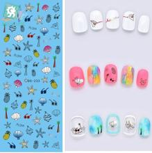 Rocooart DS233 Factory Designer Water Transfer Nails Art Sticker Ocean Blue Style harajuku Nail Wraps Sticker French stickers(China)