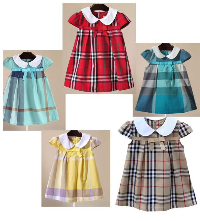 2016 Summer female child Red Khaki Bowknot peter pan collar plaid one-piece dress baby princess dress free shipping<br><br>Aliexpress