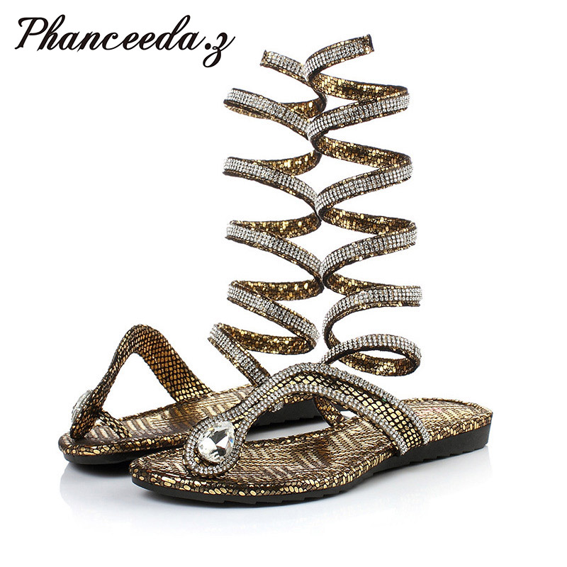 2017 Crystal S Women Sandals Hot Fashion Snake Design Summer Thong Flat Gladiator Sandal Ankle Wrap Flip Flips Woman Shoes <br>