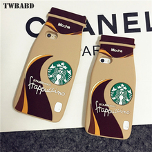 For fundas iPhone 7 3D Cartoon Silicon Case Starbuck Cover Coffee Cup Mocha coffee bottle Phone Capa for iPhone 8 Cover