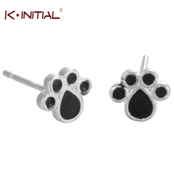 Kinitial Silver 925 Jewelry Black Dog Paw Earrings Cute Animal Baby Brincos Stud Earrings For Women Drop Shippiing Accessories