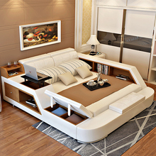 modern leather queen size storage bed frame with storage bookcase cabinets stool no mattress bedroom furniture sets