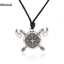 Minimal Vintage Viking Axe Barbarian Gladiator Medieval God Jewelry Double Axes Shield Necklace for Woman/Man