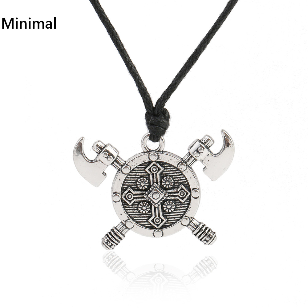 Minimal Vintage Viking Axe Barbarian Gladiator Medieval God Jewelry Double Axes Shield Necklace for Woman/Man(China (Mainland))