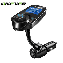 Onever Car MP3 Audio Player Bluetooth FM Transmitter Wireless FM Modulator Car Kit HandsFree LCD Display USB Charger for iPhone(China)