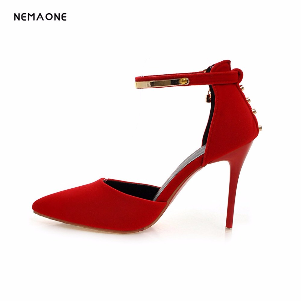 NEMAONE 2017 New ankle strap women shoes thin high heels dress shoes woman poined toe shoes office ladies shoes large size 34-43<br>