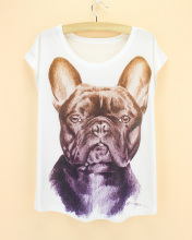 discount sale new 2015 summer woman cloth big french bulldog pattern t-shirt western fashion novelty women's plus size tshirt
