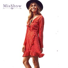 MisShow 2017 Polka dot Print Sexy Summer Dress Beach Irregular Bow Wrap Short Dress Women V Neck Long Sleeves Chiffon Dresses