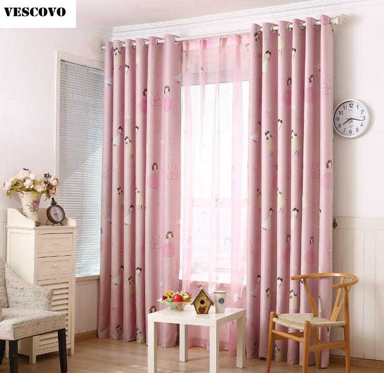 VESCOVO Princess Pink voile window curtain for girls bedroom living room