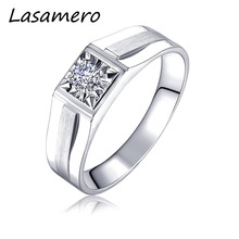 LASAMERO Rings for Men 0.108CT Round Cut Natural Diamond Ring 18k White Gold Engagement Wedding Ring(China)
