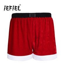 iEFiEL Red Mens Flannel Christmas Santa Claus Square Legs Pull on Closure Costume Holiday Party Boxer Shorts for Fun Gifts(China)