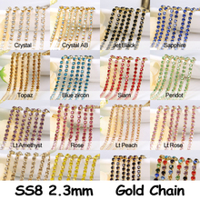 20 Colors 3 yard  SS8 (2.5MM) Close Rhinestone Cup Chain Trim Crystal Glass Square gold Base Metal free shipping