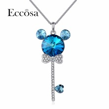 ECCOSA Trendy Heart Lock Bear Necklaces & Pendants Statement Necklace Woman Valentines Gifts Original Crystal From Swarovski(China)
