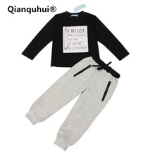 Qianquhui 2017 Autumn New Baby Boy Unique Pattern Clothes Dark Grey Long Sleeve T-shirt + Casual Long Pants 2Pcs Sport Suit(China)