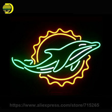 Miami Dolphin Neon Sign Decorate Room Belgian Glass Tube Neon Bulb Recreation Room Indoor Frame Sign Custom Store Displays 17x14(China)
