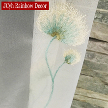Dandelion Floral Embroidered Tulle Sheer Curtains For Living Room Voile Window Curtains For Bedroom Children Organza Curtains D(China)