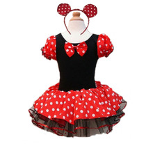 Hot Kids Gift Minnie Mouse Party Fancy Costume Cosplay Girls Ballet Tutu Dress+Ear Headband Girls Polka Dot Dress Clothes Bow